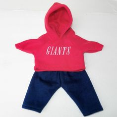 "bitty baby clothes boy or 15"" girl doll twin hoodie Navy Blue Red 2 pc football…"