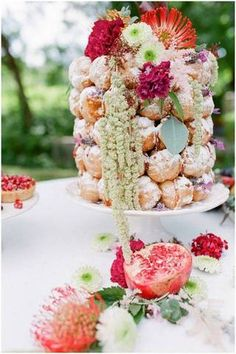 cream puff cake with colorful fruits and flowers!