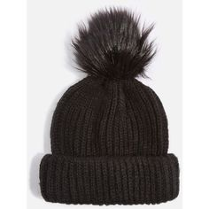 760b170c418 Topshop Faux Fur Pom Beanie Hat (490 UAH) ❤ liked on Polyvore featuring  accessories
