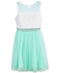 Sequin Hearts Girls' Soutache & Tulle Dress