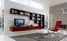 Modern Style Living Room Inspiration From Misuraemme  red white brown contemporary living room design ideas spaces built ins