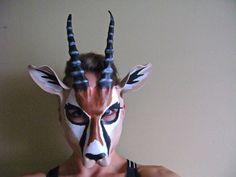 Antelope Gazelle Leather Mask - Deer Antlers - Buck - Horns - Lion King - Masquerade Mask - Halloween Costume - Theater Prop Gazelle