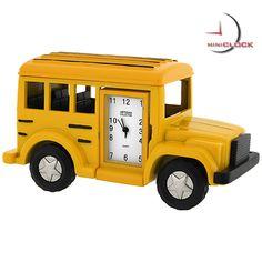school house clock | Miniature Clock, Yellow Classic School Bus Mini Clock