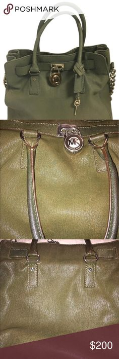 Authentic Michael Kors Hamilton Bag Beautiful hunter green bag. Gently loved. Excellent used condition. Slight pen marks on interior. Michael Kors Bags Satchels