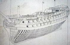 Plano de un navío español de 74 cañones. Original de 1797 en la que se aprecia las formas de las cuadernas de un navío de línea, con unas formas muy estudiadas para conseguir un buen velero sin perder sus cualidades como plataforma artillera.