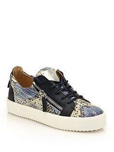 Snake-Embossed Leather Low-Top Zip Sneakers Giuseppe Zanotti - Snake-embossed…