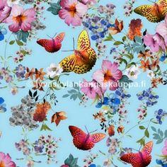 Digiprintti trikoo Perhoset Purple Butterfly