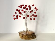 Your place to buy and sell all things handmade Dad Valentine, Wire Tree Sculpture, Wire Trees, Ruby Beads, Unique Baby Gifts, July Birthstone, Handmade Wire, Birthday Gifts, Etsy Shop