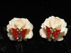 Vintage Carved Faux Ivory Rose & Enamel by JewelrybyMariB on Etsy, $25.00