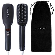 Noza Tec New 2016 Hair Straightener Brush Anion instant Magic Silky Straight Hair Styling, Anti Scald Anti Static PTC Heating Detangling Hair(Black) * See this great product.