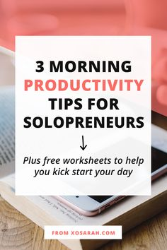 Hey solopreneur - are your mornings not feeling very productive? An energized and motivated morning is right around the corner and no, you don't have to get up at 5am or get dressed like you're going to an office job. Here are three productivity tips to help you hit the ground running every single day. #productivity #productivitytips #solopreneur