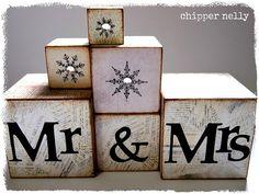 Wedding Blocks for a christmas or winter  wedding  #Decor #decorations #wedding  Check out www.planningyourweddingforless.com