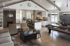 Open plan lounge dining kitchen - painted wooden ceiling