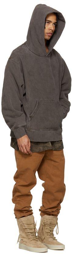 YEEZY Season 3: Brown Fleece Hoodie | SSENSE