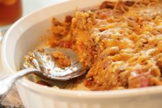 Easy Mexican Casserole - made this tonight! YUM!  But instead of plain tortilla chips, I'm going to use Cheese Doritos next time.