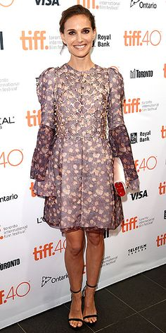 Every Fashion Moment You Need to See from the Toronto Film Festival | NATALIE PORTMAN | in a floral-print purple Dior dress with metal detail and Bally heels at the Sept. 9 TIFF kick-off fundraising soiree.