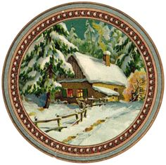 """Winter cottage ~ approx. 5"""" round graphic"""