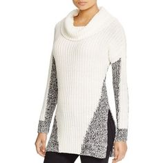 Heather B Color Block Cowl Neck Sweater