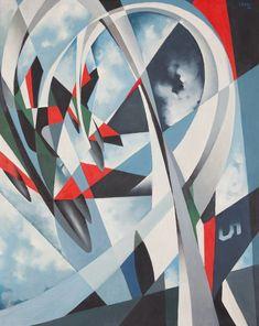 """Tullio Crali,""""Festa tricolore in cielo"""",1986."""