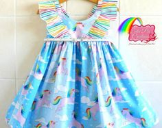 Rainbow Unicorn Girls dress-  rainbow dress, ruffle dress, flutter dress, hummingbird dress, birthday dress, unicorn dress, party dress