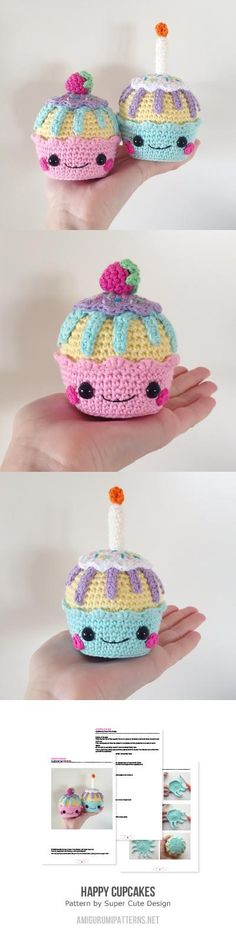Happy Cupcakes Amigurumi Pattern $6.50