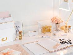 Sugar Paper for Target Office Essentials Gold Office Supplies, Desk Supplies, School Supplies, Cubbies, Desk Inspiration, Office Supply Organization, Bureau Design, Office Essentials, Stylish Office