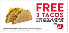 Pinned May 4th: Couple free tacos with your chicken club combo at Jack in the Box coupon via The Coupons App