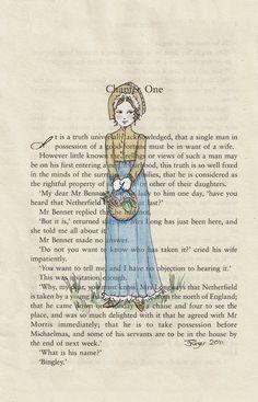 Pride and Prejudice Jane Austen Chapter One Print - Elizabeth Bennet - 5 x Jane Eyre, Jane Austen Novels, Chapter One, Pride And Prejudice, Period Dramas, Love Book, Book Worms, Book Art, Movies