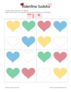 Valentine Sudoku is great for kindergarten kids to have fun while practicing cognitive skills. Have your child color the hearts to complete the page.Rules: each square, horizontal and vertical row must have one heart of each color (yellow, green, blue and red).     See in a book: