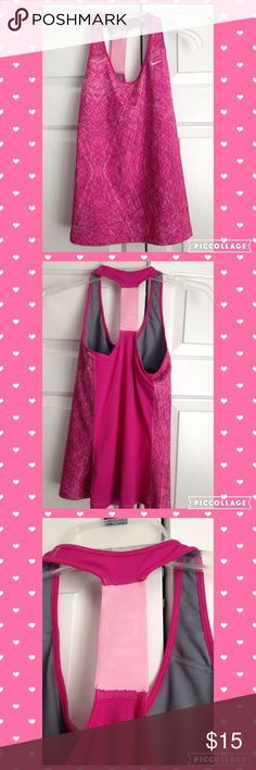 """Nike Racerback Workout Tank with Built in Bra Excellent condition, no noted flaws. Says """"JDI"""" on the back on the light pink part. Size medium. Mesh back. Smoke and pet free home. Looking to only sell on posh!  nike Tops Tank Tops"""