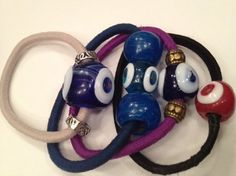 Ponytail holder with handmade glass beads various colours #evileye #SariBlue #accessory