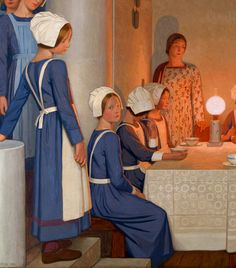 "Frederick Cayley Robinson, ""Orphans"", left painting, detail"