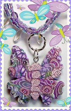 polymer clay Butterfly Necklace