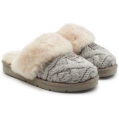 db456cfcbd3 Womens Cable Knit Slipper Boots (115 SEK) ❤ liked on Polyvore featuring  shoes and slippers