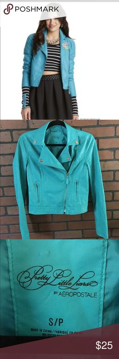 Aeropostale Pretty Little Liars moto jacket Faux leather jacketColor is teal hardware is silver zippers on backs of sleeves Aeropostale Jackets & Coats