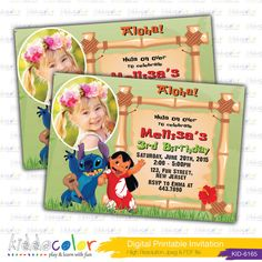 Digital imprimable Lilo et Stitch Invitation. Aloha par kiddocolor