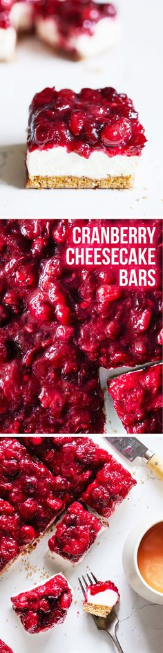 Creamy vegan cheesecake bars topped with a luscious cranberry topping. Vegan & Gluten Free.