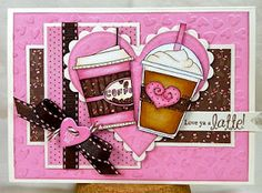 Love this pink Coffee Card made using Digital Stamps