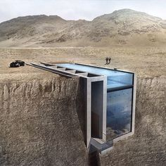 Open Platform for Architecture is moving forward with plans to build a subterranean residence that will slice into a mountain near Beirut and feature a glass swimming pool for a roof. We're going to feature a couple more sunken cliffside residences on Instagram today, and there's similar projects on dezeen.com/tag/underground #architecture #swimmingpool #house