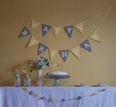 12 drink stirs, 12 napkin rings, 6 feet of scalloped circle garland, one cake bunting.