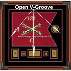 "Framed Field Artillery 20"" x 15"" Guidon Design With An Open V-groove Illustrated. The open V-groove is a design perfected by us for custom military framing. Creating an open V-groove requires special skill on a computerized mat cutting machine. This unique design permits the second mat to show through the mat reveals of the top mat. In many cases, the open V-groove provides significant color definition, thereby enhancing the frame's design. #guidon #militaryframing #framedguidons"