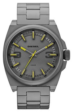 Yellow + Gunmetal Watch by Diesel Stylish Watches, Luxury Watches, Cool Watches, Rolex Watches, Watches For Men, Diesel Watch, Swagg, Bracelet Watch, Mens Fashion