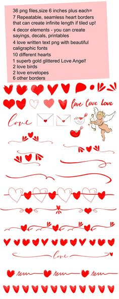 Love Valentine's cliparts for decals stickers wall prints | Etsy