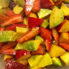 avocado, nectarine and strawberry salad with a citrus vinaigrette (fresh tangerine juice, extra virgin olive oil, salt & pepper)