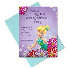Your guests can follow the trail of pixie dust to your party, or alternatively they can use the information on this personalized Tinker Bell Invitation. Include all the essential details on this colorful card that will help them wing their way there.