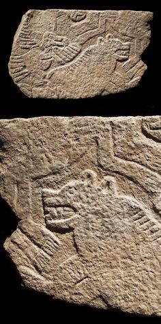 Göbekli Tepe Türkiye, [Bear and Eagle/Vulture?] Fragment of a decorated pillar.