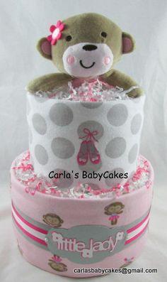 Girl diaper cake | Monkey diaper cake | Baby diaper cake | Pink diaper cake | Baby shower decoration | Baby shower gift | Mom to be gift by MsCarlasBabyCakes on Etsy