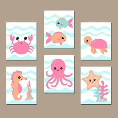 GIRL OCEAN Nursery Wall Art Nautical Theme Bathroom by TRMdesign