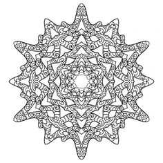 Advanced Snowflake coloring page for adults  Abstract Coloring
