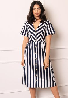 V Neck Fit & Flare Button Through Midi Dress with Short Sleeves in Navy & White Stripe V Neck Fit & Flare Button Through Midi Dress with Short Sleeves in Nav– One Nation Clothing Nice Dresses, Casual Dresses, Short Sleeve Dresses, Summer Dresses, Short Sleeves, Frock Fashion, Fashion Dresses, Elegant Office Wear, Short Frocks